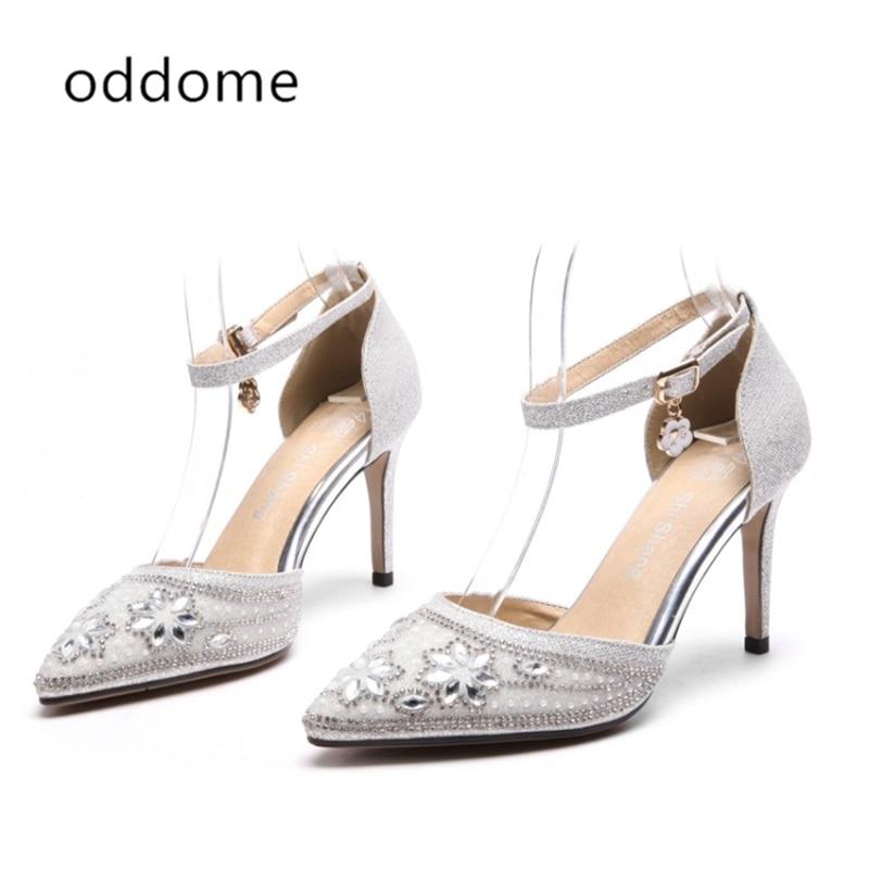 nuove scarpe estive argento sandali femminili strass paillettes - Scarpe da donna