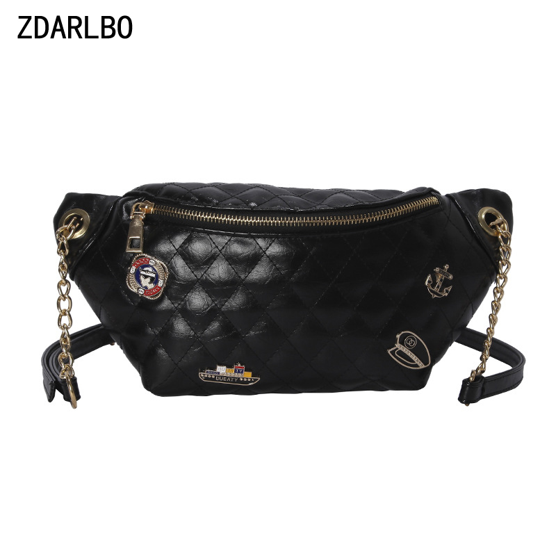 High Quality PU Women's Shoulder Crossbody Bag Belt Waist Bag Handy Bananka Female Fanny Pack Rhombus Badge Chest Bags WaistPack