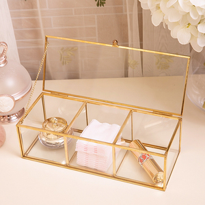 Image 3 - Classic European Glass Makeup organizer with Golden Covered Edge Bathroom Makeup Organizer make up products Cosmetic organizer