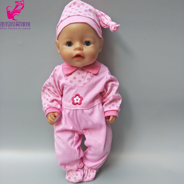 Dolls Pink Flower Clothes set Fits For 43cm Baby Born Zapf doll Cartoon  jumpsuit suit for 439a6588525d