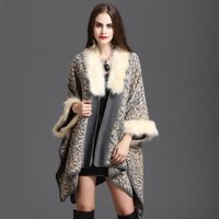 Knitted Cardigan Shawl Cape Coat knitted sweater Women cashmere Poncho Capes Cardigans Sweater with fake fox fur collar and cuff