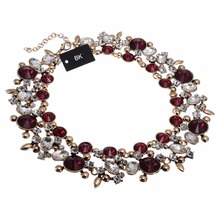 цена на BK Multi Color Vintage Gold Chain Red White Glass Crystal Chunky Choker Statement Bib Necklace