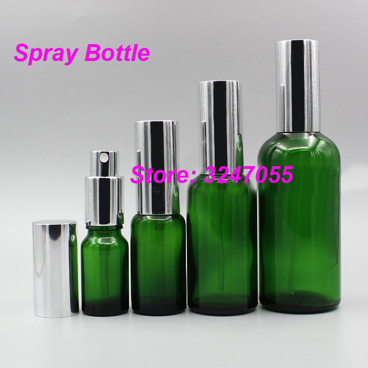 5ml10ml15ml20ml30ml50ml100ml Cosmetic Mist Spray Glass Bottle Silver Cap, Green Glass Liquid Spray Nozzle Container, Makeup Tool все цены
