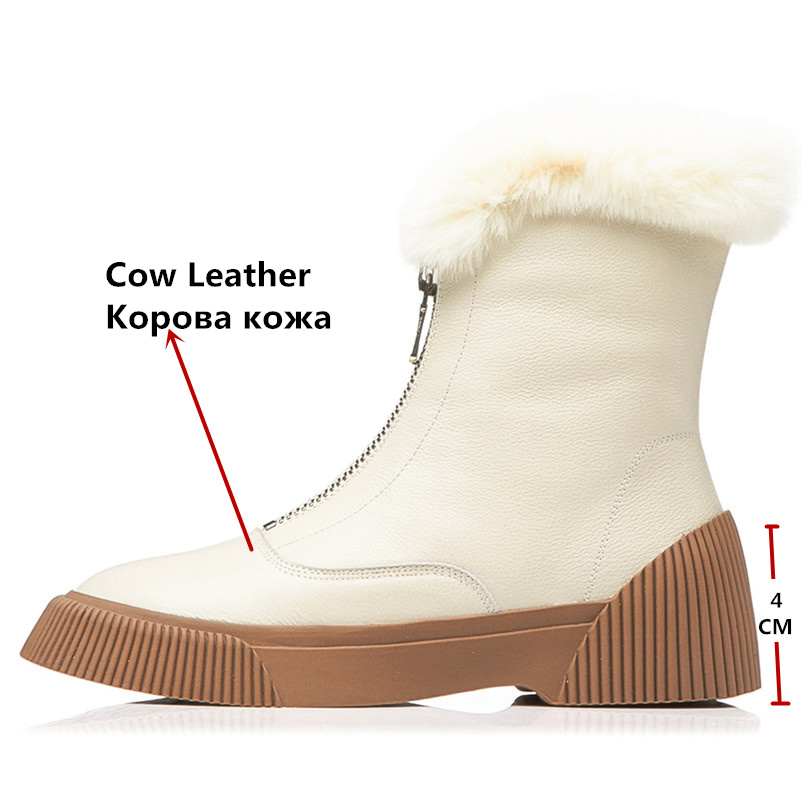 Image 3 - FEDONAS New Arrival Women Cow Leather Ankle Boots Zipper Keep Warm Winter Snow Boots Platforms Casual Shoes Woman Basic Boots-in Ankle Boots from Shoes
