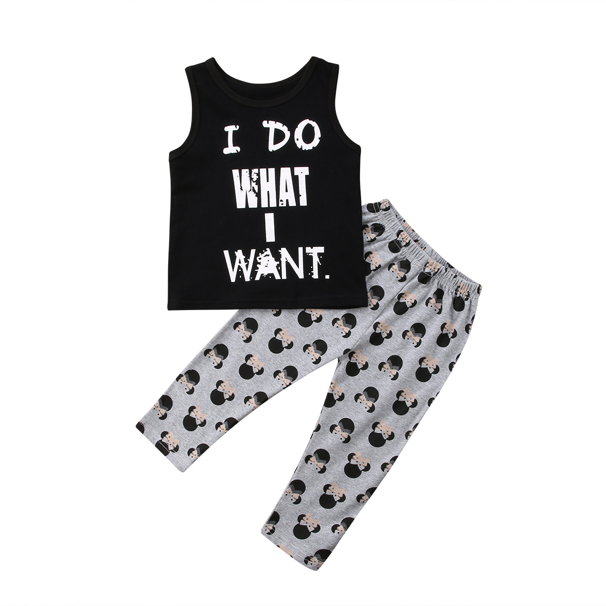 2PCS Toddler Baby Girl Boys Outfits Letter Sleeveless Black T-Shirt Tops+ Gray Shorts Pants Black Clothes Set 0-24M