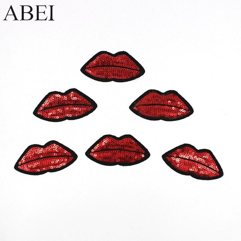 10 шт./лот, железные красные заплатки «губы», Сделай Сам наклейки в виде губ для женщин, джинсы, пальто, вышивка, шитье, аппликация для женской ...