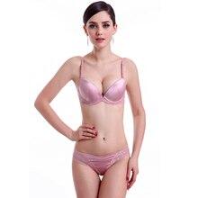 Sexy Bra Set Lace Bra and Panty Sets Silky Underwear Satin Push Up Bras  Women Beauty 86bfe0b91