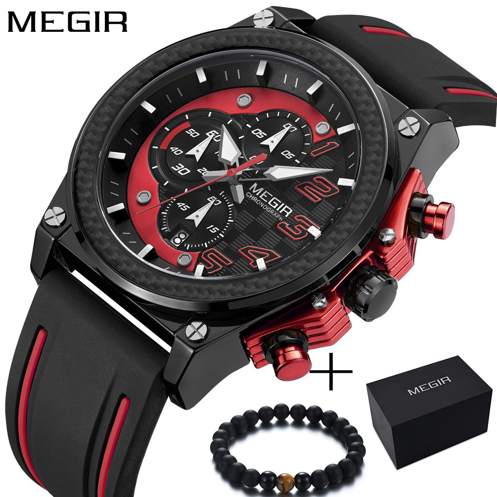 Watch Men Style MEGIR Luxury Brand Sports Quartz Watch Silicone Men's - Men's Watches