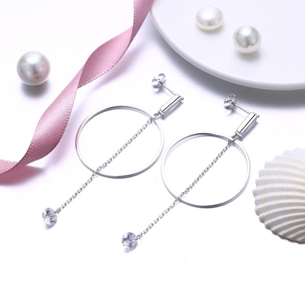 European Sterling silver 925 long earrings zircon earrings women Crystal from Swarovski Simple high-end wedding jewelry earrings