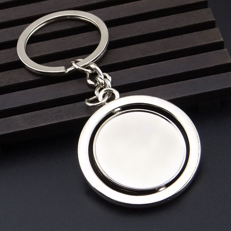 Round Rotating 360 Degree Metal Keychain Double sided Custom LOGO Key ring Men Gifts Simple Personalized