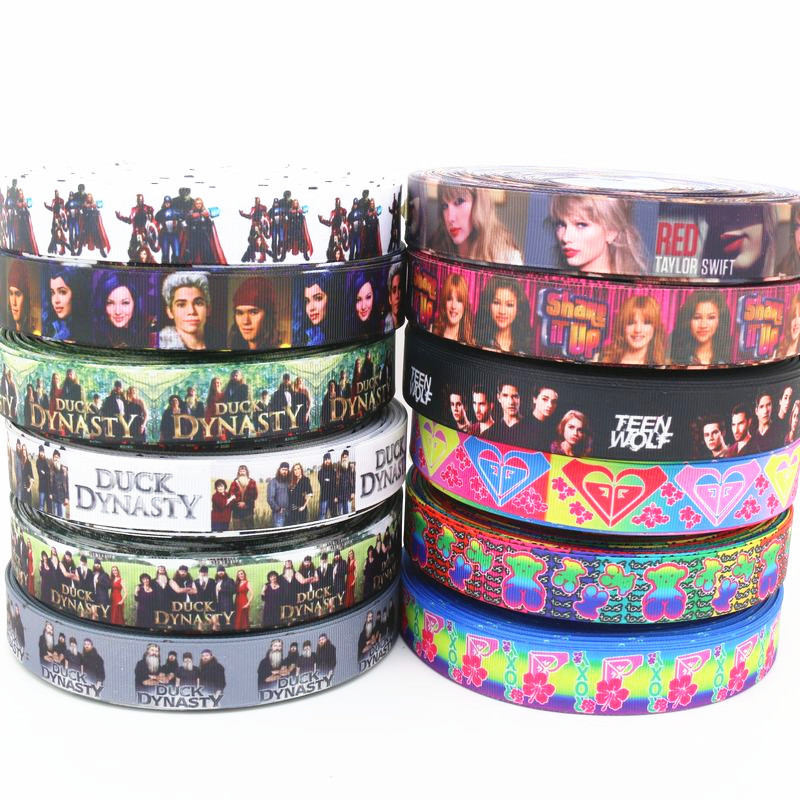 7/8'' Free Shipping Movie Star Duck  Printed Grosgrain Ribbon Hair Bow Headwear Party Decoration Wholesale OEM 22mm D24