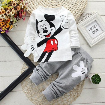 Baby Boys Clothes 2017 Spring Autumn Cartoon Leisure Long Sleeved T-shirts + Pants Newborn Baby Girl Clothes Kids Bebes Suits 1
