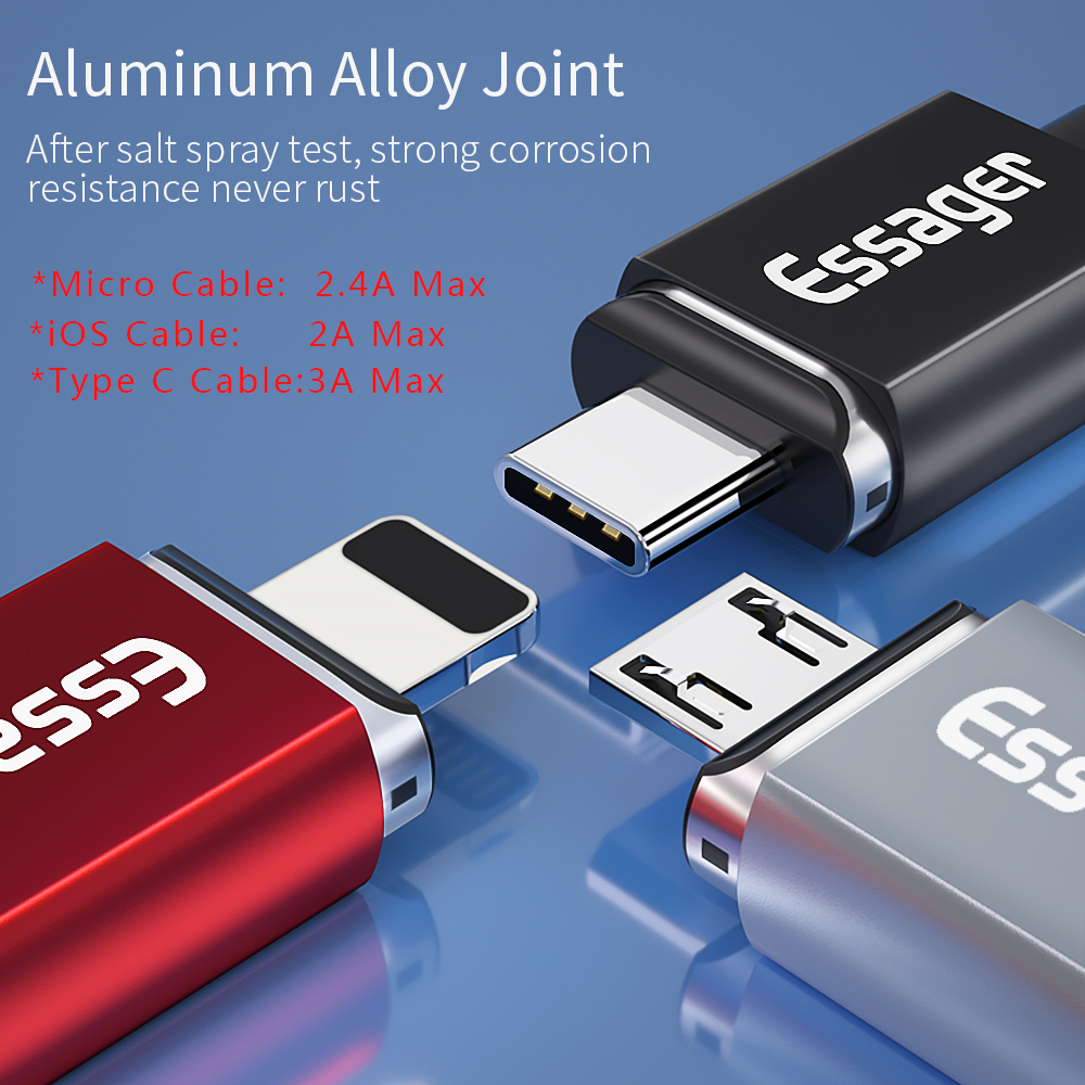 essager magnetic micro usb type-c cable for iphone samsung with magnet charger
