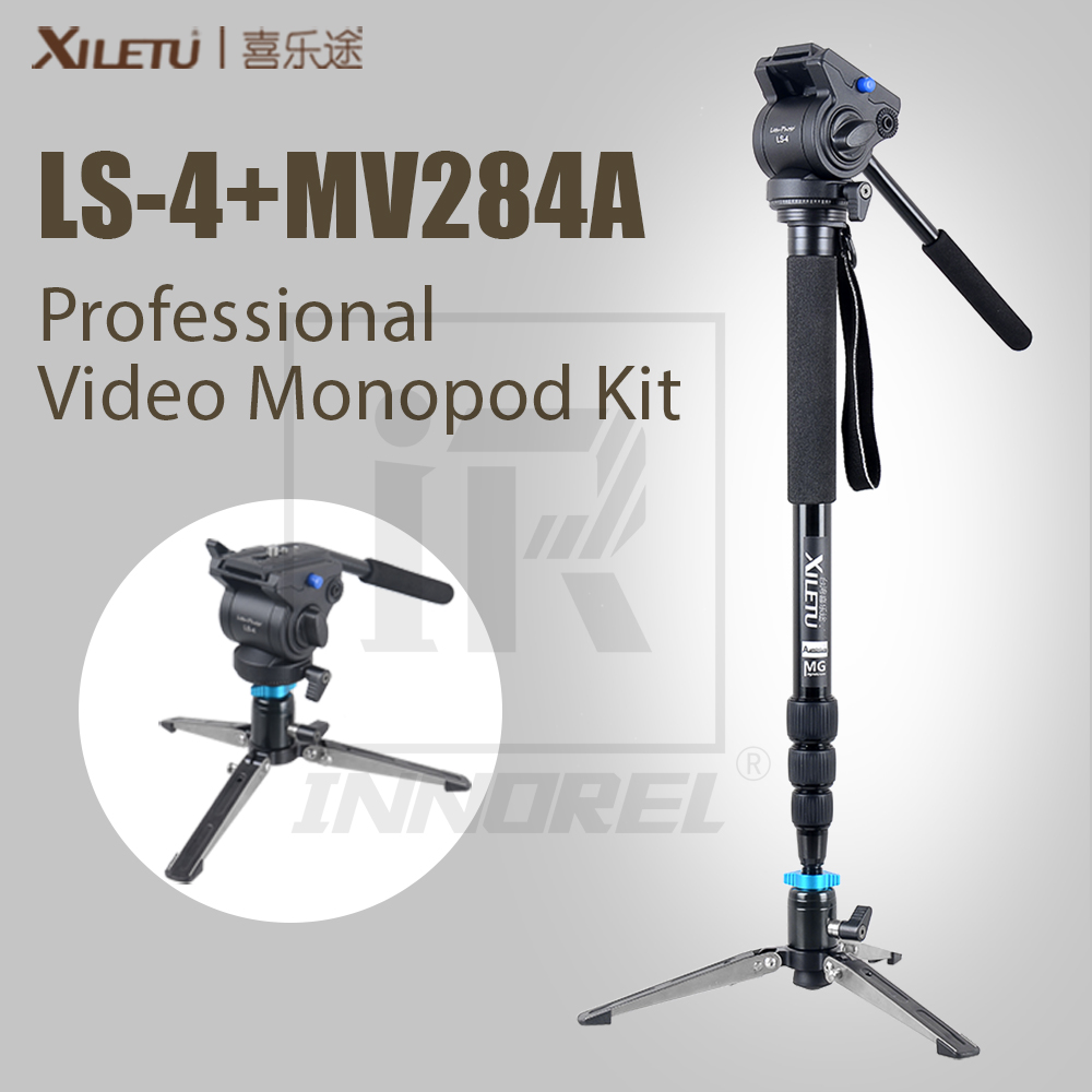 XILETU MV284A+LS4 Professional Video Monopod Kit For Camcorder DSLR Fluid Head Mini Tabletop Tripod Better Cheaper Than JY0506