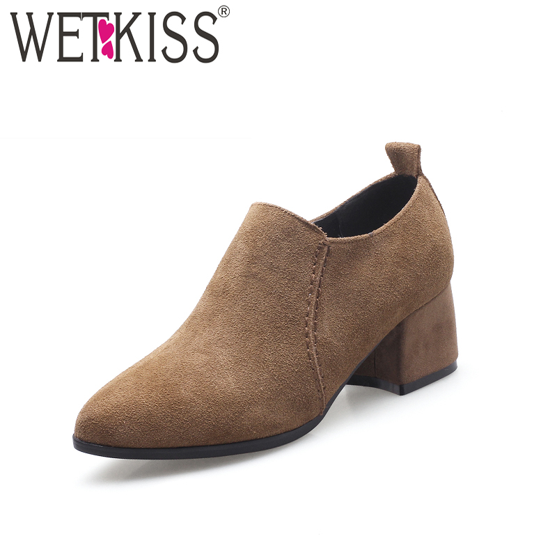 WETKISS Big Size High Heels Women Pumps Pointed Toe Zipper Cow Suede Cover Instep Footwear 2018 New Spring Fashion Female Shoes