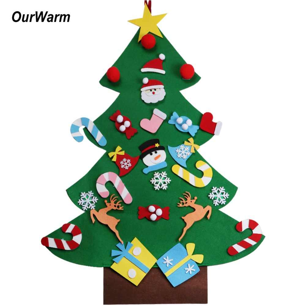 Ourwarm crianças diy sentiu árvore de natal com ornamentos crianças presentes de ano novo para o natal 2018 porta parede pendurado decoração