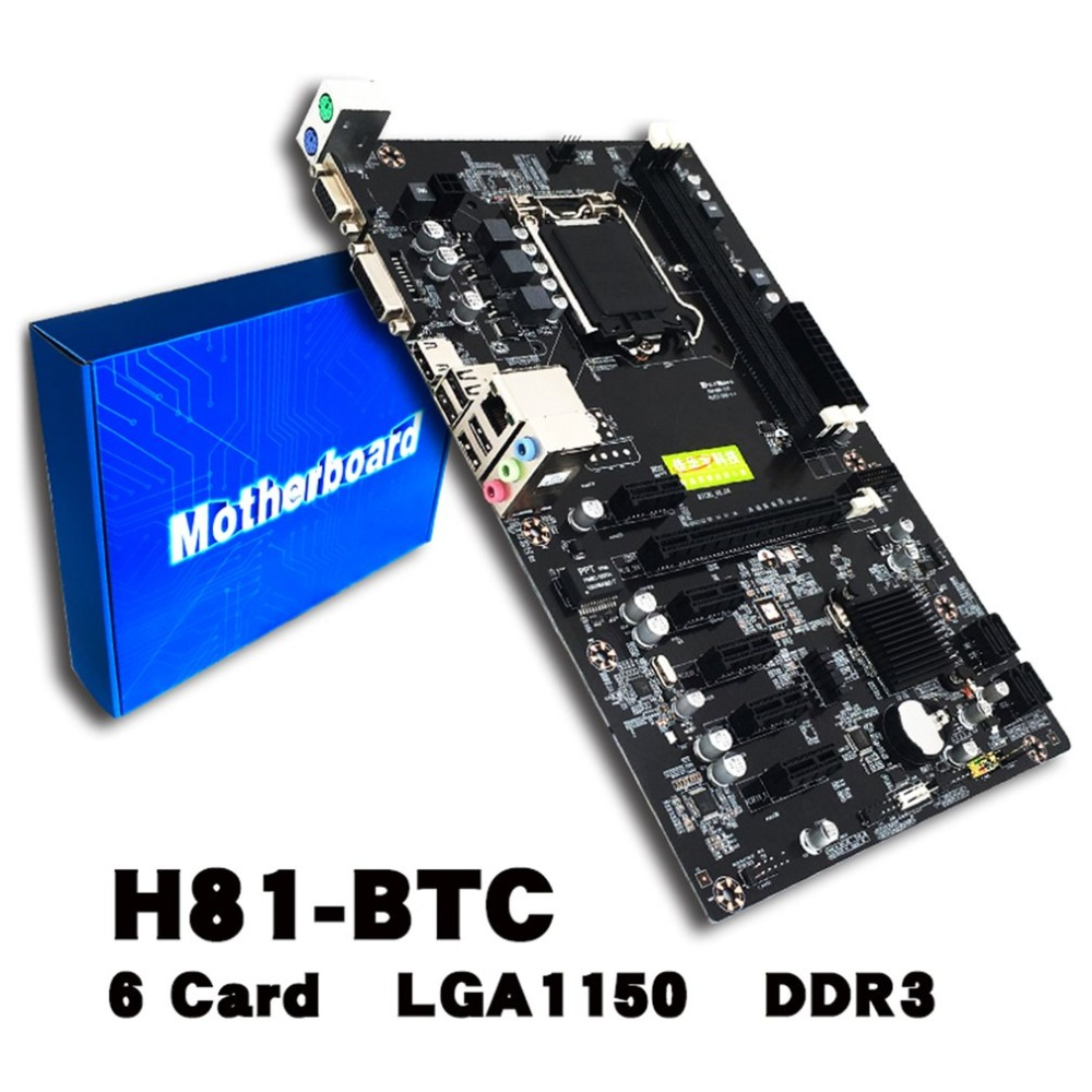 H81-BTC Mining Motherboard CPU LGA 1150 Integrated Chip Sound Card Network Card DDR3 PCI Express With Adapter Card new for intel g41 motherboard 775 ddr3 integrated sound card graphics card