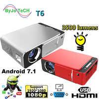 2019 neue T6 1080P LED Projektor 3500 lumen 1280x720 Tragbare projektor Android 7.1 USB HDMI VGA AV Hause theater WIFI 2.4G5G