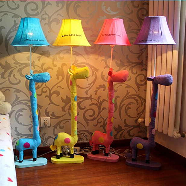 Kids Room Floor Lamp: Decoration Floor Stand Lamp Fabric Animal Blue/ Yellow