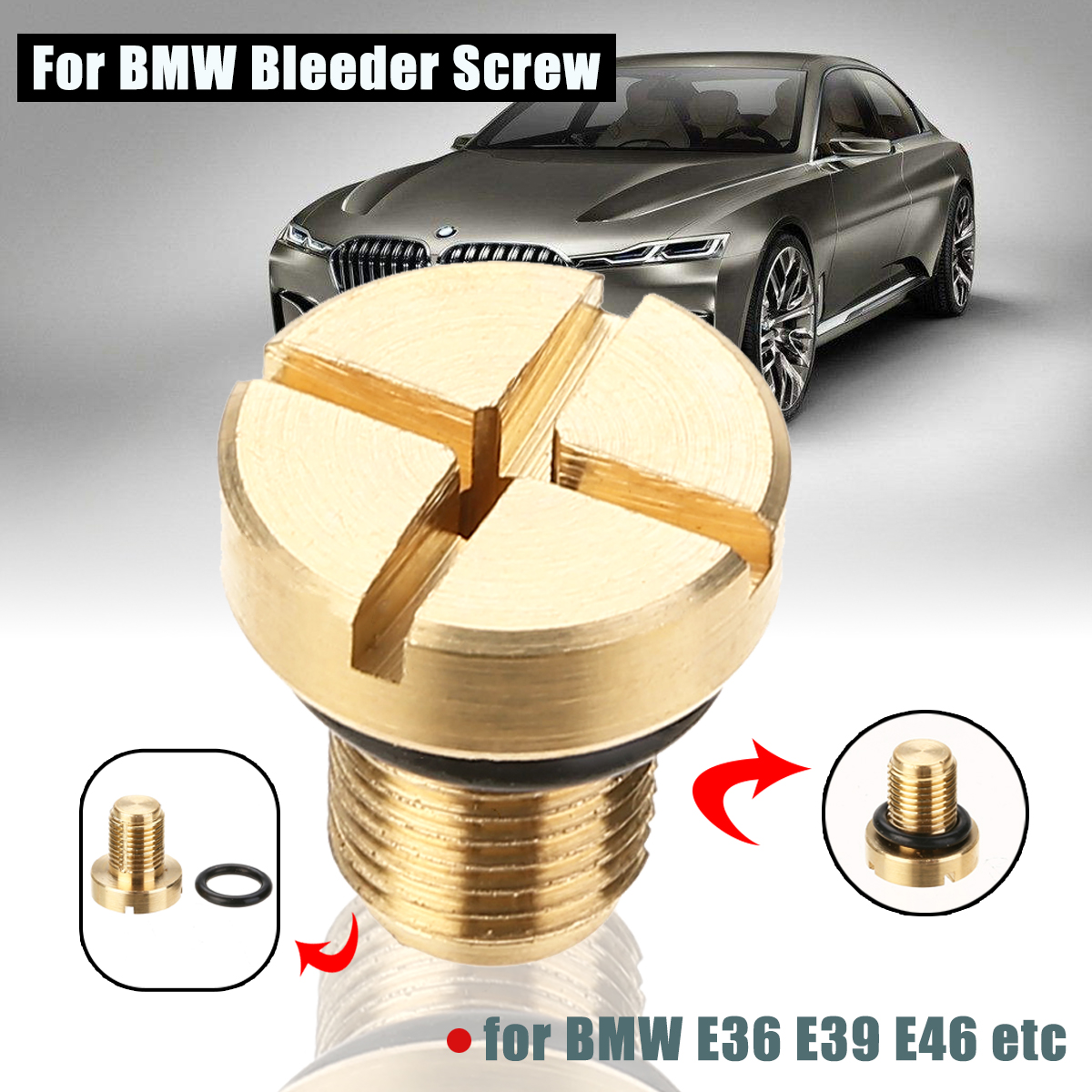 Image 2 - 1pc Coolant Expansion Tank Bleeder Screw Brass For BMW E36 E39 E46 etc Car Oil Radiator Pipe /Water Tank Return Pipe 17111712788