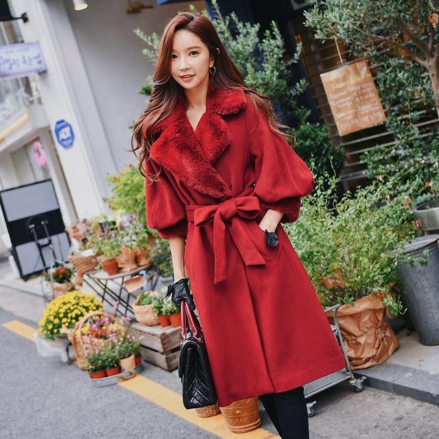 Dabuwawa Winter Vintage Fur Wool Long Coats for Girls Women Lantern Sleeve Lapel Sash Elegant Coat Outwear D18DLN023