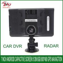 7 inch capacitive Android Car GPS Navigation DDR512M 16GB DVR Camcorder with Radar Detector Allwinner A23 Lifetime Map Navigator