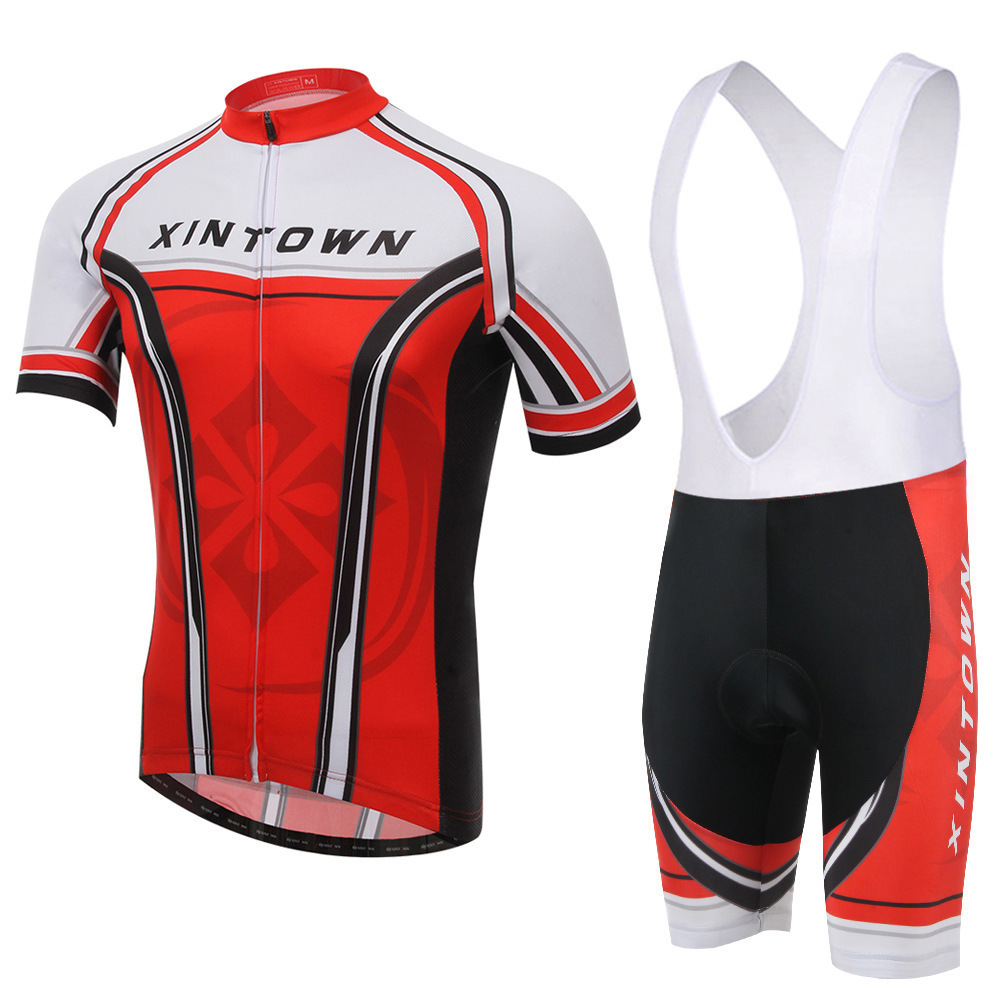 XINTOWN Team Red New Pro Team Cycling Jersey Sets Short Sleeve Gel Breathable Pad Bib Shorts Bike Clothing MTB Ropa Ciclismo polyester summer breathable cycling jerseys pro team italia short sleeve bike clothing mtb ropa ciclismo bicycle maillot gel pad