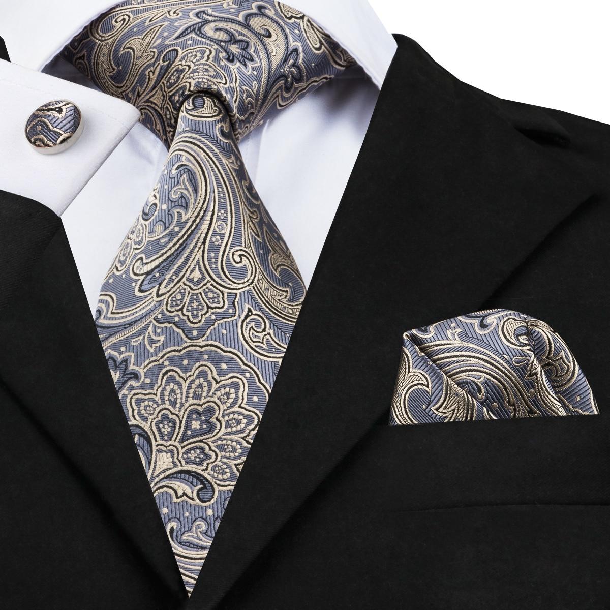 SJT-1653 DiBanGu Luxury Gray Blue Tie For Men Hanky Cufflinks Men's Gifts Floral Tie 100% Silk Neck Tie Business Wedding Tie Set
