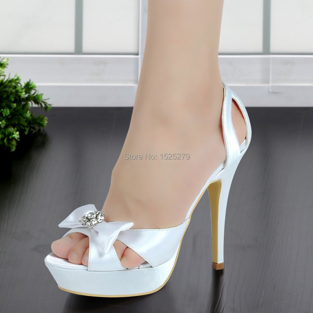 ФОТО EP2119-PF White Women Pumps Shoes Peep Toe Party Pumps Cut-out Platform Evening Sandals Bow Rhinestones Satin Lady Wedding Shoes