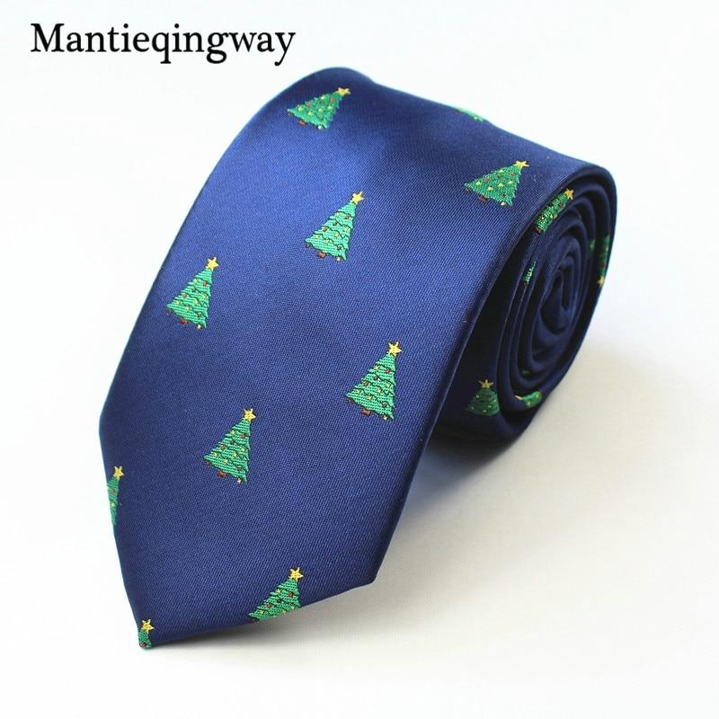 Mantieqingway 7 см для мужской галстук полиэстер елки жаккард Тощий Галстуки Gravatas Slim костюмы партии Chirstmas шеи галстук