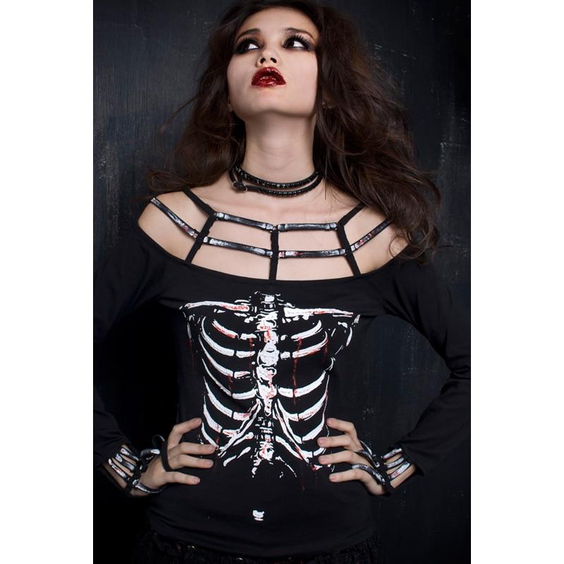 Punk Rave Rock Skelet Print shirt Womens fashion Vampire Stijl Top ONE SIZE T249-in T-shirts van Dames Kleding op  Groep 1