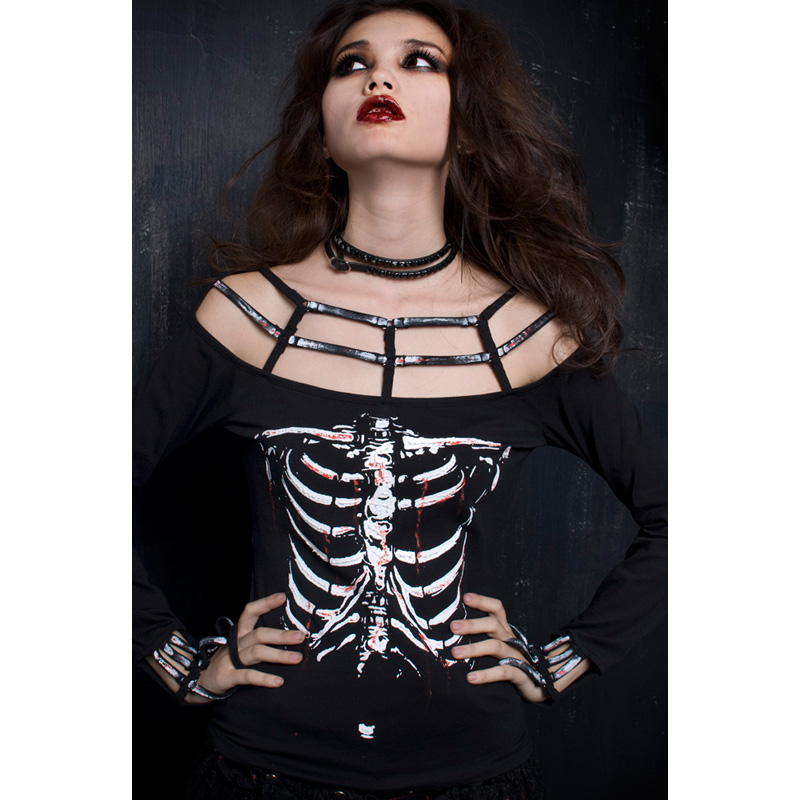Punk Rave Rock Skeleton Print shirt Womens fashion Vampire Style Top ONE SIZE T249