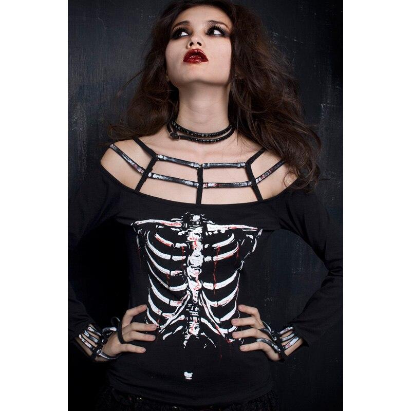 Punk Rave Rock squelette impression chemise femmes mode Vampire Style haut taille unique T249-in T-shirts from Mode Femme et Accessoires    1