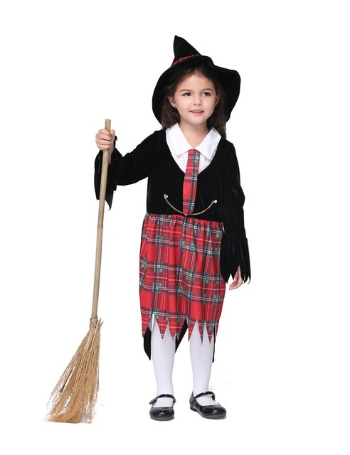 3 Pcs Girl Kids Children Christmas Halloween Costume Witch Dress and Hat Cap Enchanter Fancy Costume