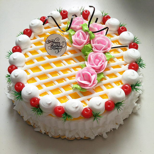 Simulation Cake Fruit Cream Birthday Model European Plastic Biaohua Network Flowers