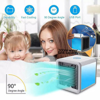 USB mini Air Cooling Fan Cooler Air Conditioning Cooler Compact Size Powerful Household Office Use Handy Cooler Blue Light 300ML
