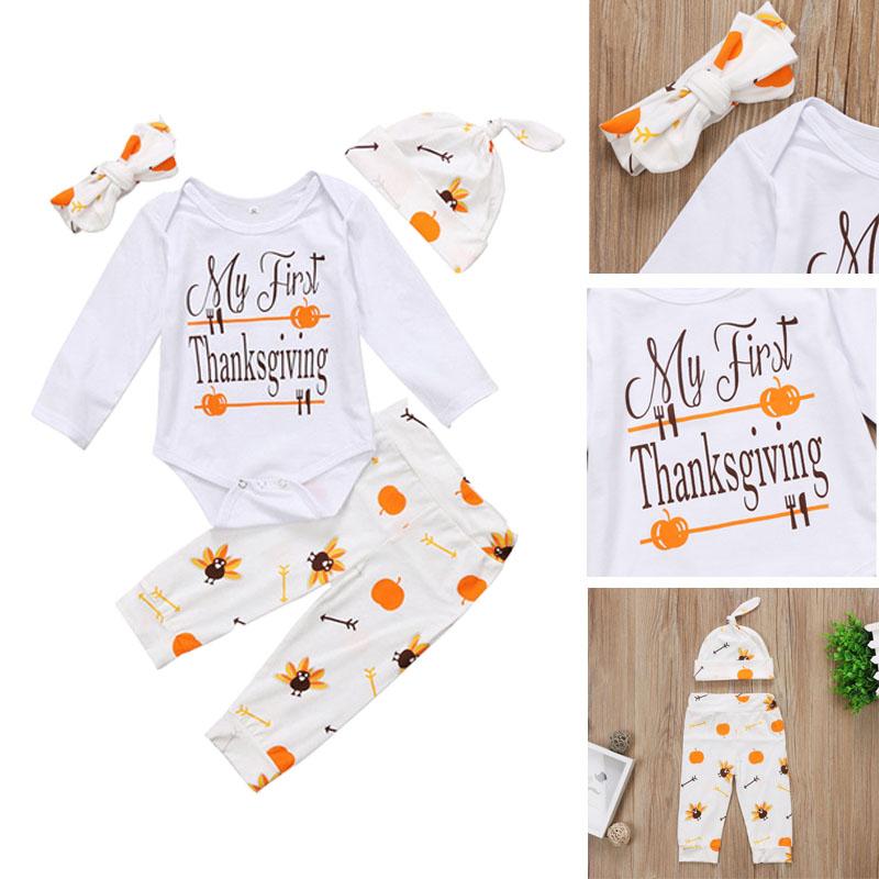 ca37878fda85 2019 AU Toddler Baby Girls Thanksgiving Romper+Pants+Hat+Headband ...