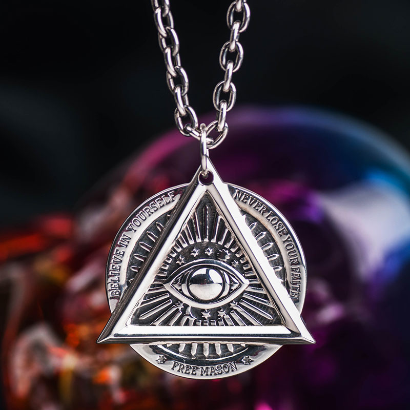 The Devil Eyes hexagon Masonic pendant 925 sterling silver necklace for Men skull sided High quality Jewelry