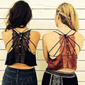 Sexy Brandy Melville Backless Eyelash Lace Halter Bra Tank Bustier Buttons Back Crop Spaghetti Strap Short Camisa Tops 3 Colors
