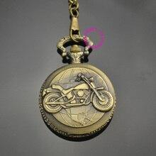 Homme père classique hommes cadeau moto vélo montre de poche taille courte chaîne bas prix bonne qualité rétro vintage bronze