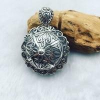 S925 Sterling retro pattern gawu Box Silver Big pendant