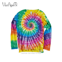 2018 Men's Handcrafted Tie Dye T Shirt Fashion Ray Spiral Colorful Long Sleeve Tops Men 100% Cotton Streetwear Tees