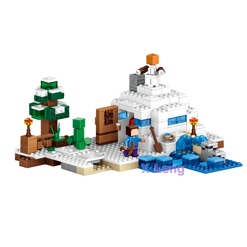 Lepin My world Minecraft Snow Scene Building Blocks Bricks For Children Gift Kids Toys Compatible With axi lepin 02012 city deepwater exploration vessel 60095 building blocks policeman toys children compatible with lego gift kid sets