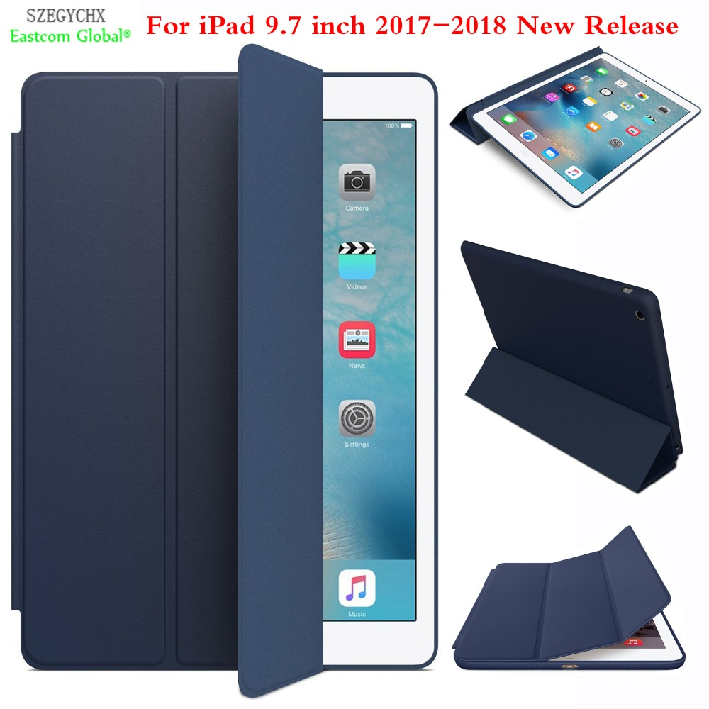 Case For New iPad 9.7 2017 2018 , SZEGYCHX Original 1:1 Ultra Slim Smart Cover Stand For ipad case Auto Wake / Sleep with LOGO