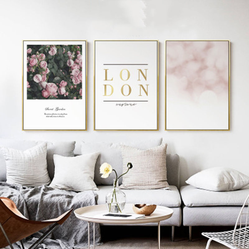 English Alphabet Pink Rose Cranes Gold Romantic Mood Elegant Love Modern Art Picture Canvas Posters for Home Decoration
