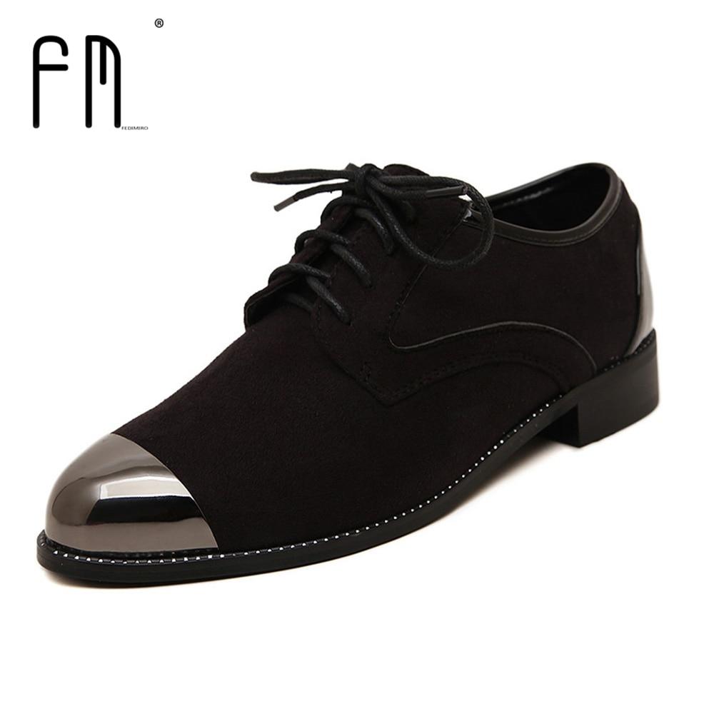 Marca Oxford zapatos para mujeres Otoño de Tacón Bajo Para Mujer Oxfords Zapatos