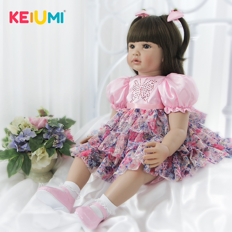 KEIUMI 22 Inch Reborn Dolls 56cm Cloth Body Newborn Girl Babies Toy Princess Boneca Baby Doll For Sale Kid Birthday Gift Collect multi colors 18 inch american girl doll fair skin princess doll cute soft plastic reborn dolls babies girl dolls for kid s gift