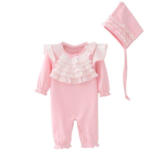 0c6421e3a6c Ruffles Baby Girls Clothes Sets Newborn Princess Long Sleeve Jumpsuits  Cotton Sweet Girl Ruched Ruffled Romper+Cap 2pcs Clothing