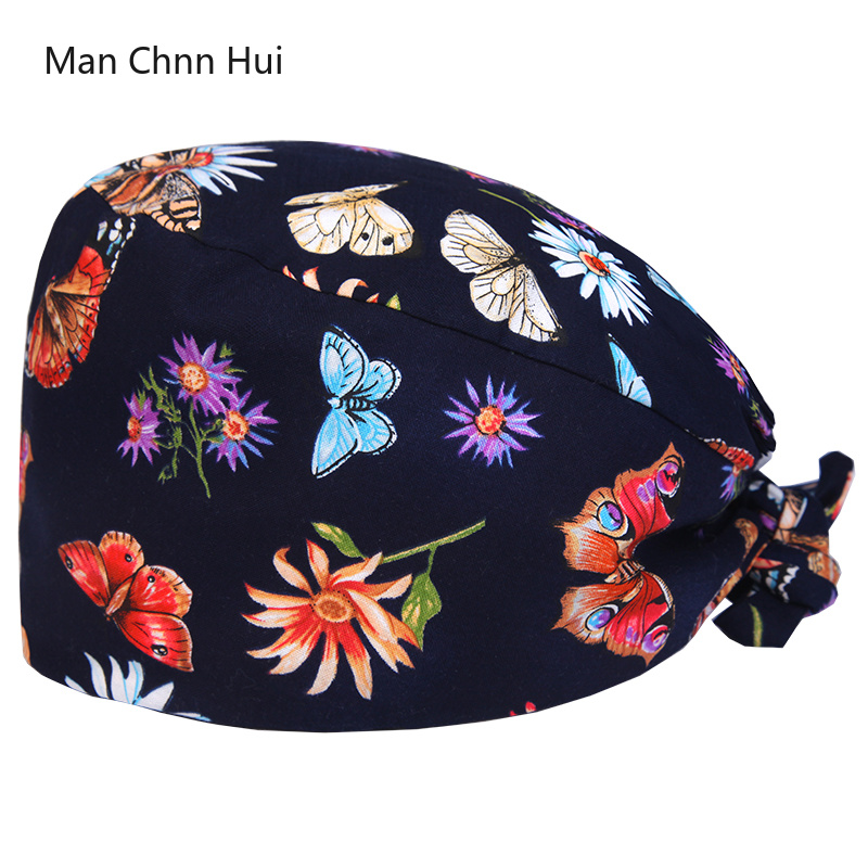 Floral Surgical Scrub Hats and caps with Fabric Ties and an Elasticized Back Section Operating Room surgery Work Hat