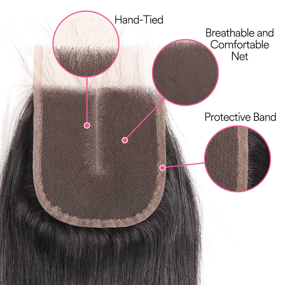 Mydiva Brazilian Hair Weave Bundles With Closure Human Hair Bundles With Closure Straight Non Remy Hair Extension 4PCS Lot